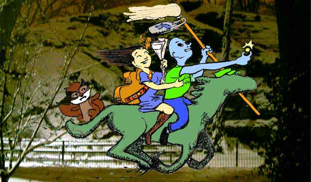Alien Super, Racco, and Stephanie ride the Topiary Horse.